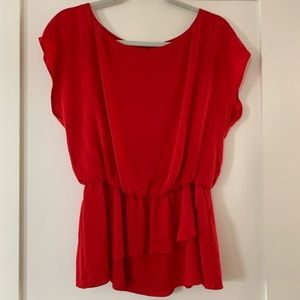 Alice & Olivia Red Silk Blouse